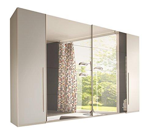 Stella Trading Match 4-türiger Kleiderschrank, Holz, weiß/spiegel, 61 x 312 x 225 cm -