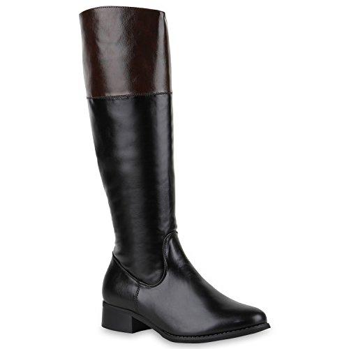 Damen Reiterstiefel Lederoptik Langschaft Boots Klassisch Schwarz