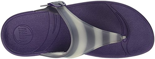 FitFlop Superjelly With Stripe, Sandales Bout ouvert femme Purple (Pomp Purple)