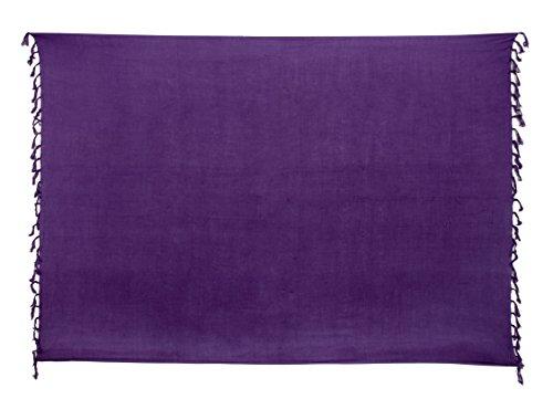 Sarong Bekleidung Pareos (Premium Sarong Pareo Wickelrock Strandtuch Lunghi Dhoti Schlicht Blickdicht Uni Einfarbig Lila PDL)