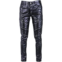 Iodpy Hombres Hip Hop Hipster Negro Pantalones de Cuero de imitación Pantalones Casuales