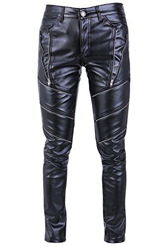 Idopy Pantaloni Casual da Uomo in Pelle Sintetica Nera con Pantaloni Hip-Hop