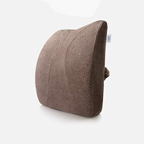 Brown Velvet Kissen (Lumbar pillow Lendenkissen Taille Unterstützung Pad Bürostuhl Speicher Baumwolle Taille Unterstützung Pad Kissen Schwangere Frau Sitz Taille Auto Lendenkissen (Color : Brown, Size : 42 * 35 * 8cm))