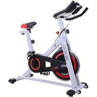 Homcom Vélo d'appartement Cardio vélo Biking écran Multifonction Selle et Guidon réglables Blanc Noir Rouge 46