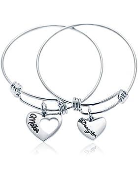 2Erweiterbar Armreif Set Mutter und Tochter Love Herz Anhänger Armbänder Familie Geschenk für Frauen Mädchen
