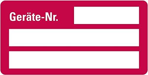 LEMAX® Inventaretikett Geräte-Nr., rot, Dokumentenfolie, selbstklebend, 50x25mm,9/Bogen