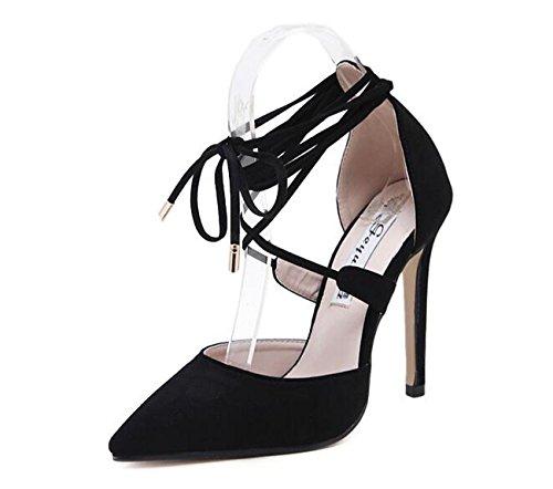 Beauqueen Pattini OL di pomeriggio delle cinghie di punta della punta della caviglia Stiletto tacco alto delle donne allineate delle scarpe casuali di modo 35-39 Black