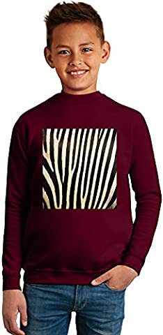 Zebra Print Superb Quality Boys Sweater by BENITO CLOTHING - 50% Cotton & 50% Polyester- Set-In Sleeves- Open End Yarn- Unisex for Boys and Girls 10-12