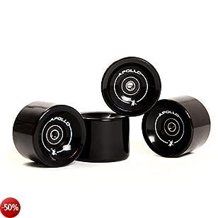 Ruote per longboard, ruote professionali, set di ruote, ruote | 78A - 70mm | dell'esclusivo marchio di tendenza Apollo | incl. cuscinetti a sfera ABEC-7 | Colore: solid black – Ruote di riserva