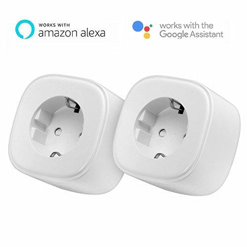 Meross Intelligente WLAN Steckdose, Alexa Steckdose funktioniert mit Amazon Alexa [ Echo, Echo Dot ], Google Home und IFTTT mit Englischer App, Steuerung für IOS und Android (2 Stücke)