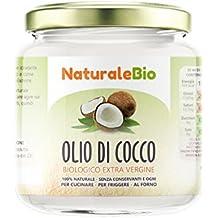 Olio di Cocco Biologico Extra Vergine 200 ml   Crudo e Spremuto a Freddo   Organico e Puro al 100%   Ideale sui Capelli, sul Corpo e ad Uso Alimentare   Olio di Cocco Bio Nativo e non Raffinato   NATURALEBIO®