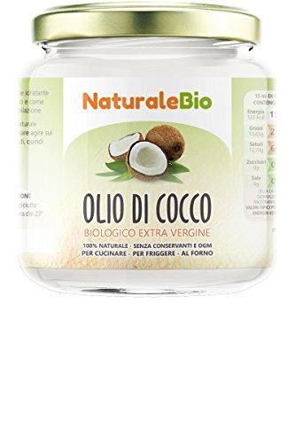 Olio di cocco biologico extra vergine 200 ml | crudo e spremuto a freddo | organico e puro al 100% | ideale sui capelli, sul corpo e ad uso alimentare | olio di cocco bio nativo e non raffinato | naturalebio