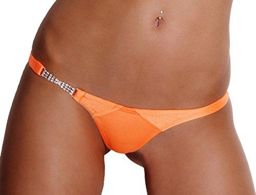Bade Stringtanga String Bikinistring Tanga mit Strasskette Neonorange