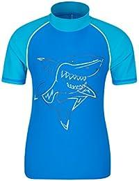 Mountain Warehouse Camiseta térmica estampada con manga corta para niños - Camiseta térmica con factor de protección solar UPF50+, top térmico de secado rápido Azul 5-6 Años