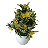 ypypiaol Artificial Plant Potted, Plastic Lotus Bonsai Artificial Plant with Pot, Mini Potted Plant Bonsai Office Desk Home Party for Home Kitchen Party Supplies Decor- 1 Pcs Yellow