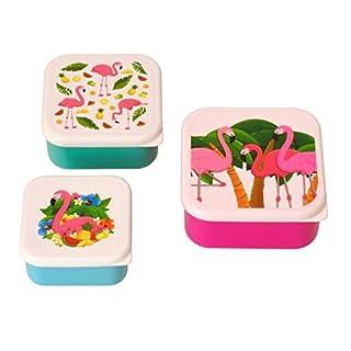 Flamingo Brotdosen im 3er Set - Tropische Flamingo Vesperdose Vesperbox Tropisch Brotzeitdose
