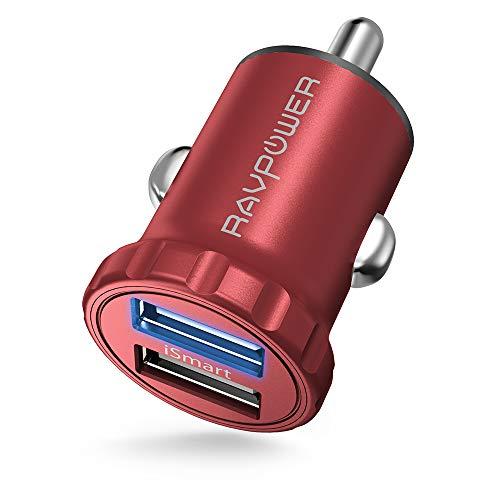 RAVPower Mini Cargador de Coche con Aleación de Aluminio 24W 4,8A con Nueva Tecnología iSmart 2.0 Compatible con iPad, Samsung, LG y Más