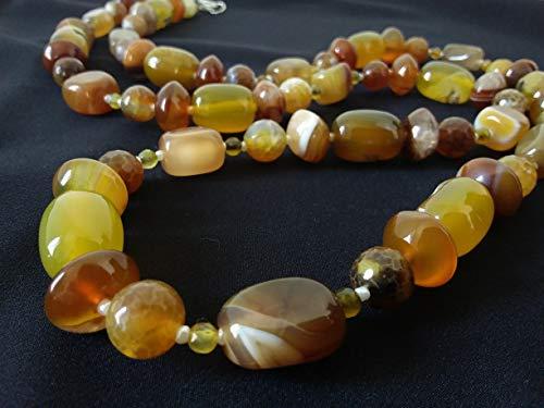 Collana gialla marrone- pietre dure - agata- idea regalo artigianale donna