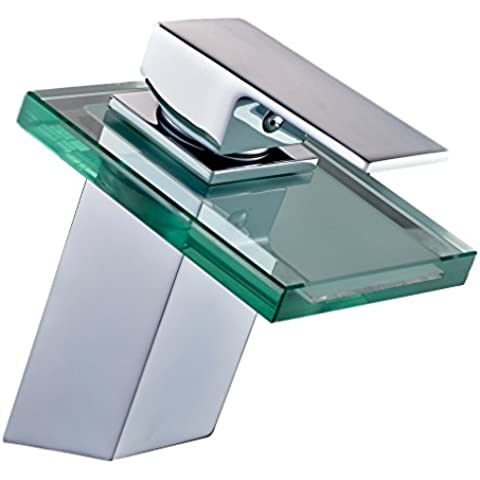 Auralum® Rubinetto quadrato a cascata in vetro Miscelatore lavabo rubinetti bagno