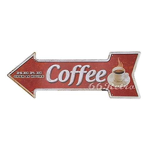 66retro Kaffee hier Uhr, geprägt Pfeil Blechschild, Vintage Wand Deko Schild
