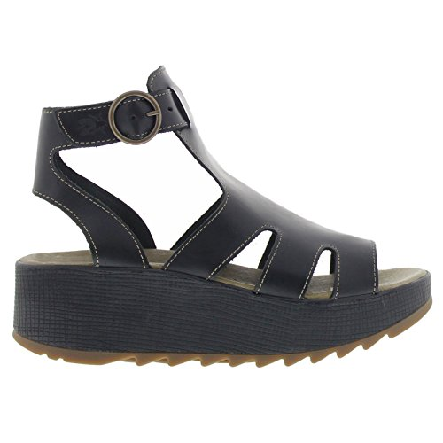 Fly London Womens KANE991FLY Platform Black Leather Sandals 39 EU