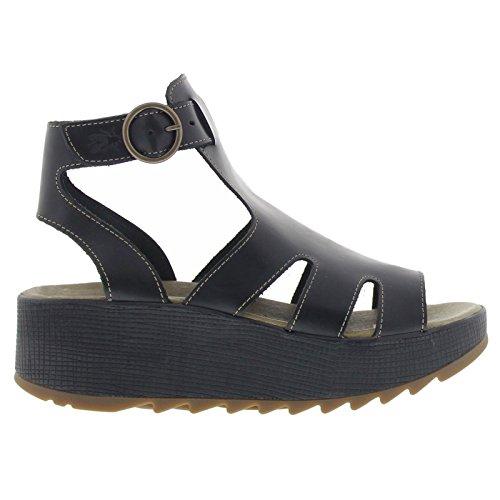 Fly London Womens KANE991FLY Platform Black Leather Sandals 37 EU