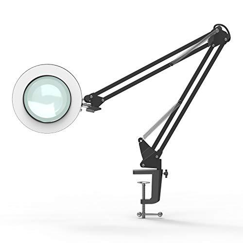 YOUKOYI Lampada d'Ingrandimento a LED con Lente 5X Braccio Oscillante Metallico Lampada da Tavolo Regolazione Continua Modi di 3 Colori Nero