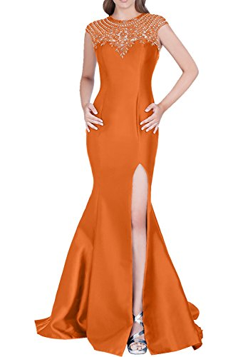 Victory Bridal Royal Blau Damen Langes Meerjungfrau Abendkleider Partykleider Promkleider mit Silber Strasse Orange