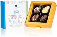 Happy Easter 4 Eggs | 4 gevulde chocolade paaseitjes | paasgeschenk | chocolade voor Pasen | Chocolade eitjes | Paasgeschenk