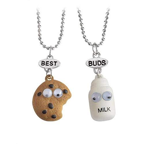 2 Teile/Satz Anhänger, Cookie und Milch Halskette Freundschaft Zeuge Lebensmittel Anhänger für Besten Freund