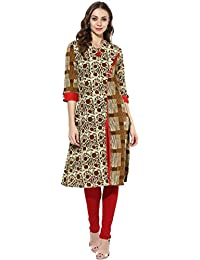Mytri Women's Beige Brown Cambric Printed A-Line Kurta