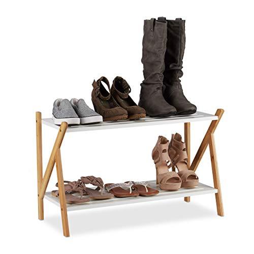 Relaxdays Schuhregal mit 2 Ebenen, für 6 Paar Schuhe, Holz Schuhablage aus Bambus & MDF, HBT: 45x71x32 cm, weiß/Natur