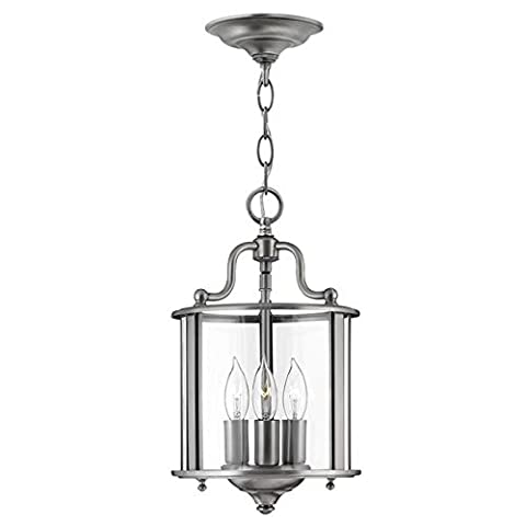 Small Solid Brass Chain Hanging Ceiling Light with 3 Candle Stick Shaped Bulb Holders and Round Clear Glass Lamp Shade - Pewter Finish
