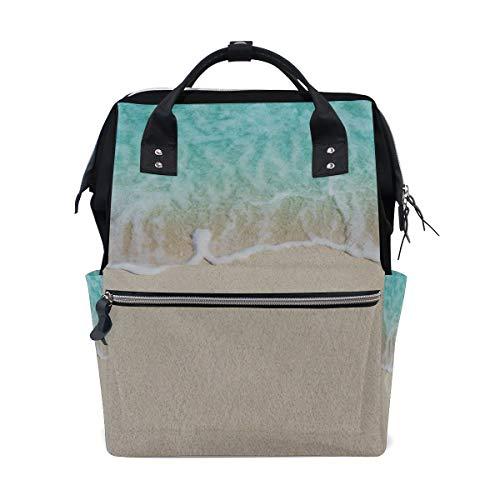 Sky Blue Wave Mit Sandstrand Große Kapazität Windel Taschen Mummy Rucksack Multi Funktionen Wickeltasche Tasche Handtasche Für Kinder Babypflege Reise Täglichen Frauen -