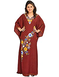 Exotic India Tibetan Red Long Kaftan With Ari Embroidery - Red