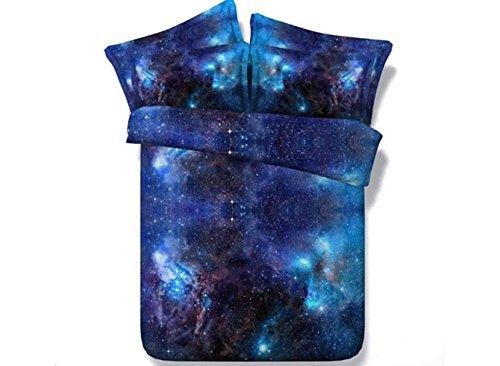 ammybeddings Charming, Blau Galaxy Print 3D Bettwäsche Sets Blau, Fadenzahl 800, Bettwäsche-Sets, 4-teiliges Baumwolle Bettbezug Sets Blau, blau, King-4PCS - Queen-size-standard-tröster
