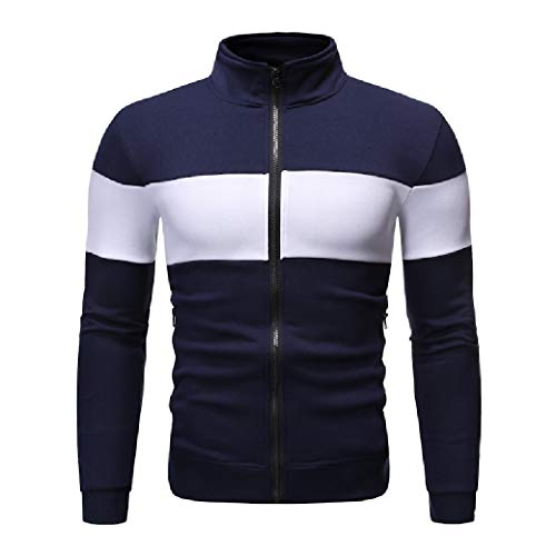 CuteRose Mens Color Block Stitching Full-Zip Long Sleeve Fleece Sweatshirt Navy Blue M - Element Full Zip Sweatshirt