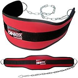 ONEX Fitness Cinturón de Levantamiento de Pesas Dip Belt de Respaldo Acolchado con Extra Fuerza de Cadena (Rojo)