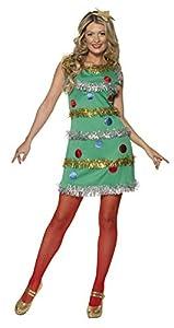 Smiffys-36992M Disfraz de árbol de Navidad, con Vestido y Diadema, Color Verde, M-EU Tamaño 40-42 (Smiffy