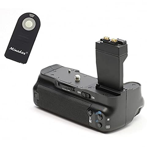 Batteriegriff fuer Canon EOS 700D, 650D, 600D und 550D als BG-E8 Ersatz in Originalqualität fuer 1-2 Stück LP-E8 oder 6 AA Akkus + 1x Infrarot Fernbedienung!