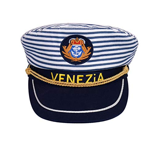 BESTOYARD Einstellbare Yacht Kapitäns Hut Matrosen Seekappe Navy Kapitän Hut Erwachsene Kinder Blau und Weiß Streifen Matrose Cosplay Kostüm Zubehör
