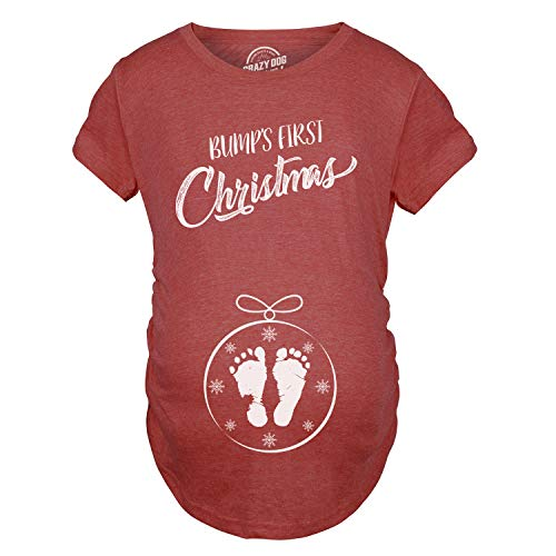Crazy Dog Tshirts - Maternity Bumps First Christmas Ornament New Baby T Shirt Pregnancy Tee for Mom (Heather Red) - XL - Damen - XL -