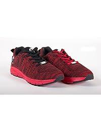 Gorilla Wear Zapatos Brooklyn Knitted Sneakers (Negro/Rojo Talla 38)