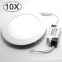 10x LED Panel Rund Leuchte Dimmbar Neutralweiß 6W Led Deckenleuchten Einbauleuchte 390LM Entspricht Einer 40W Glühbirne