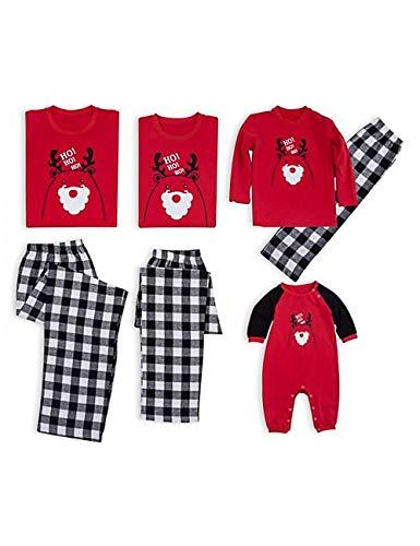 Besbomig natale in famiglia set da pigiama con mamma papà figlio ragazze - traspirante cotone morbido top e pantaloni lunghi