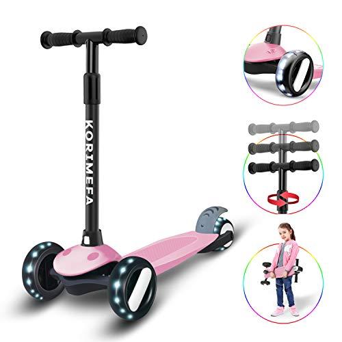 KORIMEFA Kinderroller ab 3 Jahre 3 Räder Dreiradscooter Kinderscooter Kinder Roller 2-10 Jahre Junge Mädchen Richtungssperre Höhenverstellbare mit PU Leuchtenden Räder