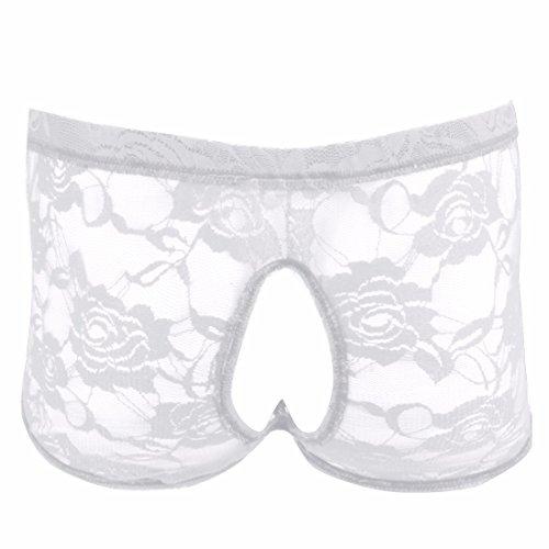 iEFiEL Homme Boxer Slip Poche Dentelle Florales Jarretière Lingerie Sissy Sous-vêtements M-XL Blanc L
