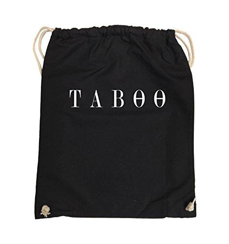 Comedy Bags - TABOO - LOGO - Turnbeutel - 37x46cm - Farbe: Schwarz / Silber Schwarz / Weiss
