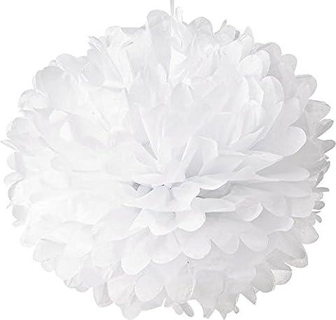 Lot de 5 20 cm Pompons Boule de Fleurs Tissu Papier de Soie pour Decoration Mariage Anniversaire Naissance Pâque Baptême (Blanc)