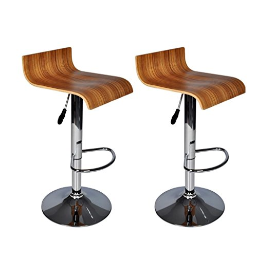 vidaXL Lot de 2 tabourets/chaises de bar bois design Wave 60319